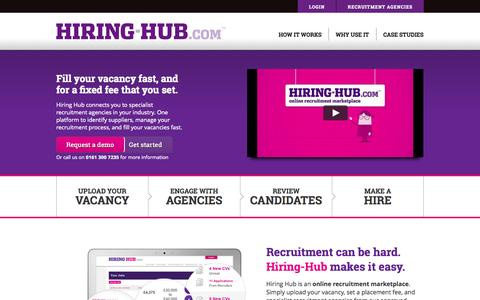Screenshot of Home Page hiring-hub.com - The online recruitment marketplace | Hiring-Hub.com - captured Sept. 22, 2014