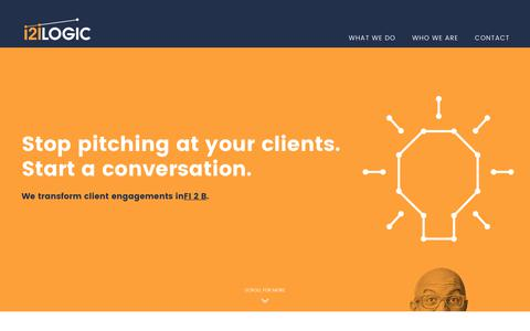 Screenshot of Home Page i2ilogic.com - i2i Logic - Stop pitching at your clients. Start a conversation. - captured June 7, 2017