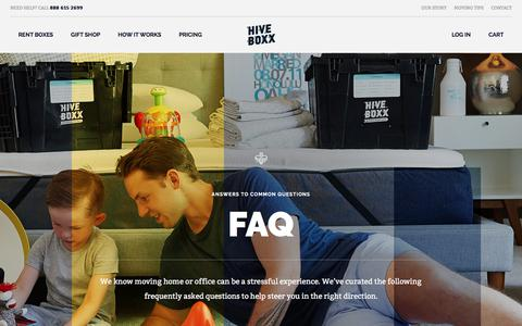 Screenshot of FAQ Page hiveboxx.com - FAQ | HiveBoxx | Moving boxes, serving sunny Seattle. - captured July 20, 2018