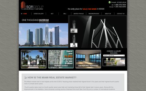 Screenshot of Home Page thesofigroup.com - Miami Luxury Condos |South & Miami Beach Luxury Condos |The Sofi Group - captured Oct. 3, 2014
