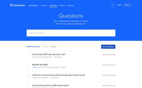 Screenshot of FAQ Page digitalocean.com - Questions & Answers | DigitalOcean - captured Feb. 8, 2017