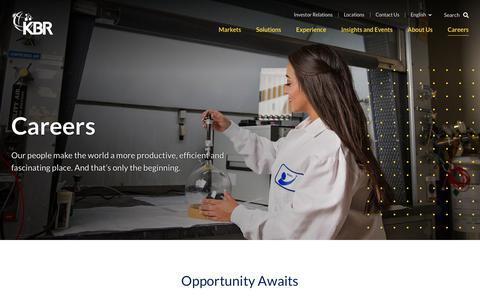 Screenshot of Jobs Page kbr.com - Careers | KBR - captured July 26, 2019
