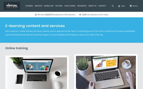 Screenshot of Services Page virtual-college.co.uk - E-Learning and Services including Bespoke and Custom Content | Virtual College - captured May 30, 2017