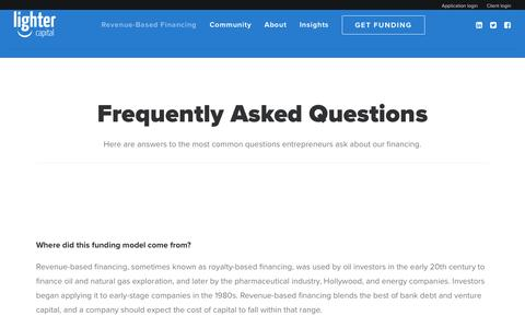 Screenshot of FAQ Page lightercapital.com - FAQ - Lighter Capital - captured May 9, 2017