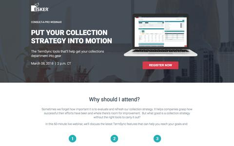 Screenshot of Landing Page esker.com - Put Your Collection Strategy Into Motion - captured March 2, 2018