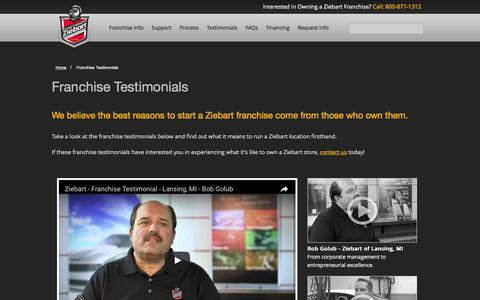 Screenshot of Testimonials Page ziebart.com - Franchise Testimonials | Franchising Opportunities | Ziebart - captured Nov. 29, 2016