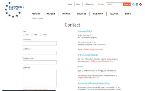 Screenshot of Contact Page ecommerce-europe.eu - Contact - Ecommerce Europe - captured July 19, 2019