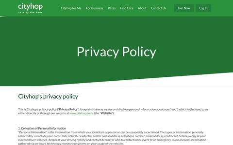 Screenshot of Privacy Page cityhop.co.nz - Privacy Policy - Cityhop - captured Nov. 4, 2018