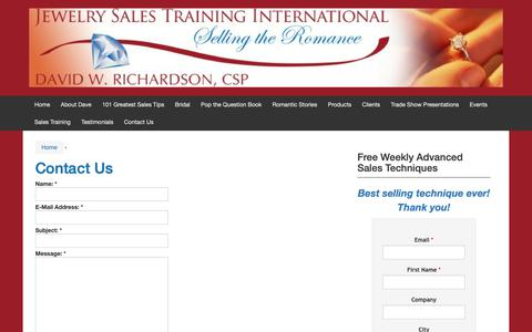 Screenshot of Contact Page jewelrysalestraining.com - Contact Us | Jewelry Sales Training | - captured Oct. 13, 2018
