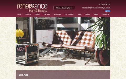 Screenshot of Site Map Page renaissancestyle.co.uk - Wedding Hair Leeds, Hair Salon Leeds, Hairdressers Leeds, Site Map - captured Dec. 2, 2016