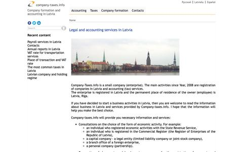 Screenshot of Home Page company-taxes.info - Legal and accounting services in Latvia - captured Oct. 18, 2018