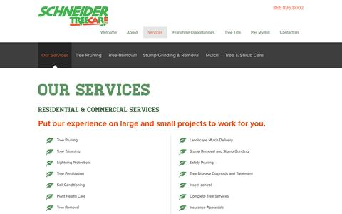Screenshot of Services Page schneidertree.com - Tree Pruning, Tree Trimming, Tree Removal - Schneider Tree Care - captured Feb. 4, 2016