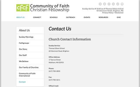 Screenshot of Contact Page cfcfboston.org - Community of Faith Christian Fellowship: Boston, MA > Contact Us - captured Jan. 21, 2016