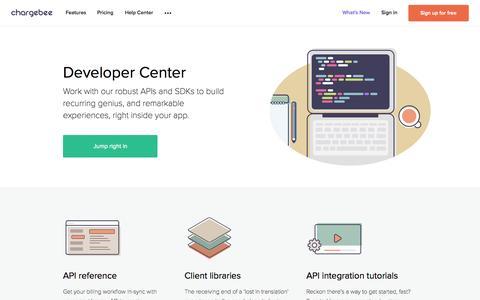 Screenshot of Developers Page chargebee.com - Developer Center - Chargebee - captured Nov. 14, 2015