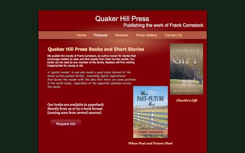 Screenshot of Products Page frankcomstock.com - Quaker Hill Press - captured Oct. 2, 2014