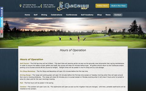 Screenshot of Hours Page glendenninggolf.ca - Hours of Operation | GlenDenning Golf - St Johns, NL - captured March 29, 2016