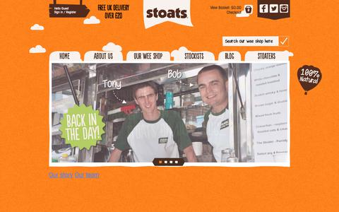 Screenshot of About Page eatstoats.com - About - captured Oct. 18, 2018
