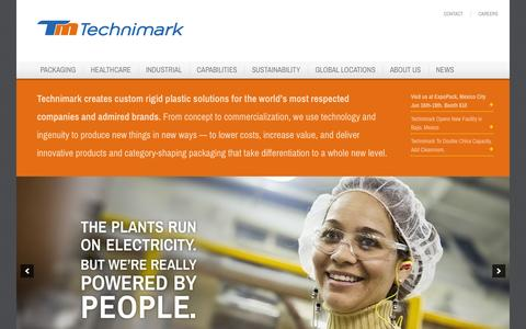 Screenshot of Home Page technimark.com - Home - Technimark - Turnkey Injection Molding - Packaging, Healthcare & Industrial Markets - captured July 3, 2015