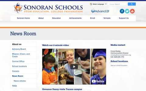 Screenshot of Press Page sonoranschools.org - News Room - captured Oct. 1, 2018