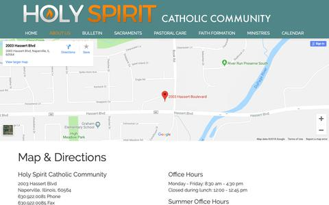 Screenshot of Maps & Directions Page hscc.us - Map & Directions - Holy Spirit Catholic Community, Naperville, IL - captured Sept. 29, 2018
