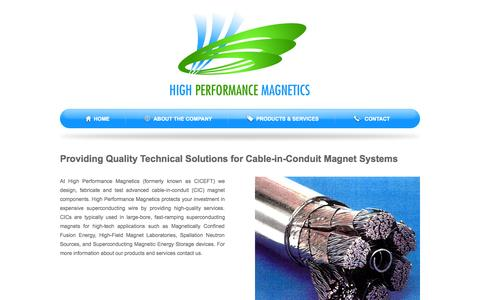 Screenshot of Home Page hpmagnetics.com - High Performance Magnetics  | Providing Quality Technical Solutions for Cable-in-Conduit Magnet Systems - captured Oct. 3, 2014