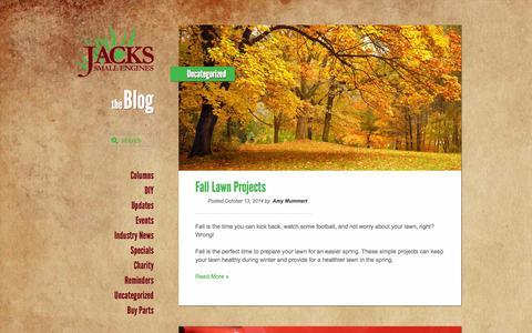 Screenshot of Blog jackssmallengines.com - The Blog at Jacks Small Engines - captured Oct. 27, 2014