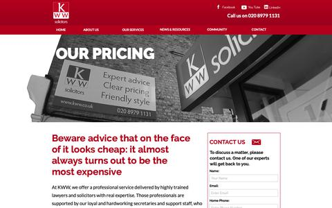 Screenshot of Pricing Page kww.co.uk - our-pricing – KWW - captured Oct. 14, 2018