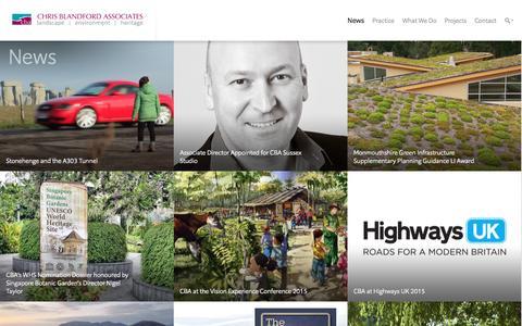 Screenshot of Press Page cbastudios.com - News   Chris Blandford Associates - captured Jan. 27, 2016