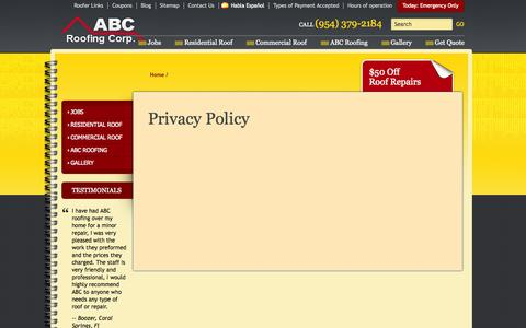 Screenshot of Privacy Page abcroofingcorp.com - ABC Roofing Corporation Privacy Policy | Roof Repair Confidentiality - captured Sept. 30, 2014