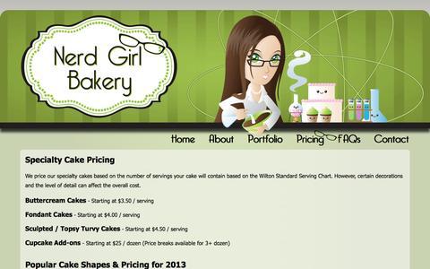 Screenshot of Pricing Page nerdgirlbakery.com - Nerd Girl Bakery - captured Oct. 1, 2014