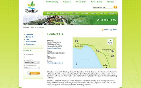 Screenshot of Maps & Directions Page ppandl.net - Pacific Plug and Liner :: Directions - captured Oct. 1, 2014
