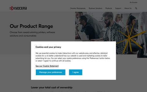 Screenshot of Products Page kyoceradocumentsolutions.co.uk - Kyocera | Printing | Our Product Range - captured May 1, 2019