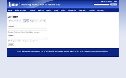 Screenshot of Login Page fjmc.org - User login   Federation of Jewish Men's Clubs - captured Nov. 6, 2018