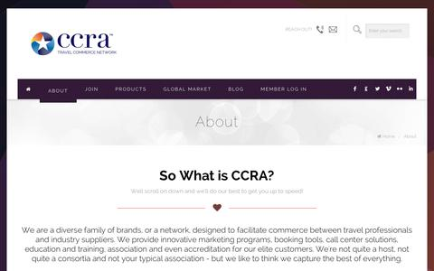 Screenshot of About Page ccra.com - About - CCRA Travel Commerce NetworkCCRA Travel Commerce Network - captured Jan. 22, 2016