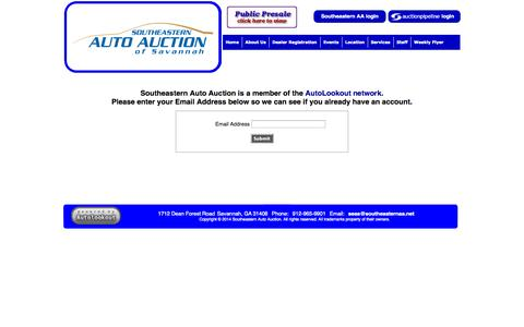 Screenshot of Signup Page southeasternaa.com - Login | Signup | Southeastern Auto Auction - captured Nov. 5, 2014