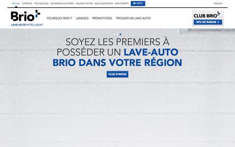 Screenshot of Home Page bri-o.com - BRIO   Le lave-auto intelligent - captured Oct. 5, 2014