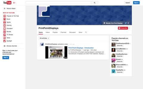 Screenshot of YouTube Page youtube.com - PrintPointDisplays  - YouTube - captured Oct. 26, 2014