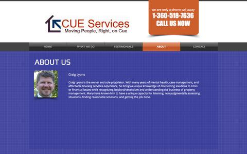 Screenshot of About Page cueservicesllc.com - CUE Services | ABOUT - captured May 13, 2017