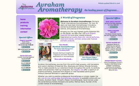 Screenshot of avaroma.com - Avraham Aromatherapy - the healing power of fragrance... - captured June 15, 2016