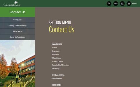 Screenshot of Contact Page cincinnatistate.edu - Contact Us | Cincinnati State - captured May 9, 2017