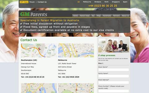 Screenshot of Contact Page gm-parent-visas.com - Contact details - GM Parents - Australian tax and visa advice | GM Parent Visas - captured Oct. 1, 2014