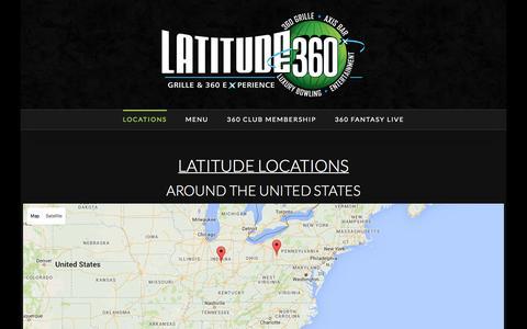 Screenshot of Locations Page latitude360.com - Locations - Latitude 360 - captured Jan. 26, 2016