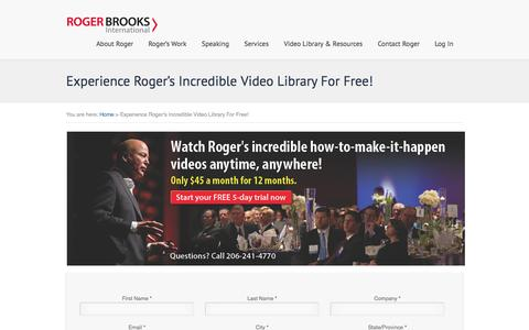 Screenshot of Trial Page rogerbrooksinternational.com - Experience Roger's Incredible Video Library For Free! - Roger Brooks International - captured Oct. 29, 2014