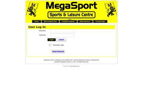 Screenshot of Login Page megasportcyprus.com - User Log In - captured Oct. 3, 2014