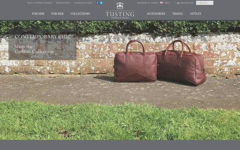 Screenshot of Home Page tusting.co.uk - TUSTING | British-Made Bags Luggage & Accessories in Luxury Leathers - captured Oct. 27, 2017