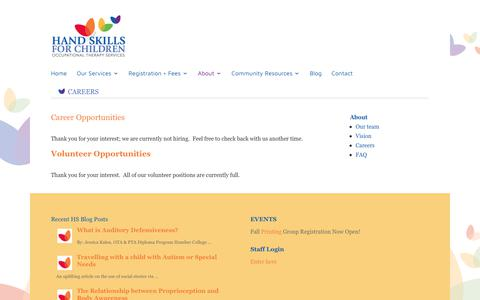 Screenshot of Jobs Page handskillsforchildren.com - Occupational Therapy Volunteer | Hand Skills for Children Toronto Occupational Therapy Services - captured Nov. 4, 2018