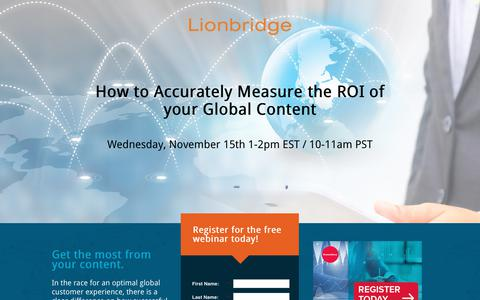 Screenshot of Landing Page lionbridge.com - Lionbridge - How to Accurately Measure the ROI of your Global Content [Gated] [EN-US] - captured March 27, 2018