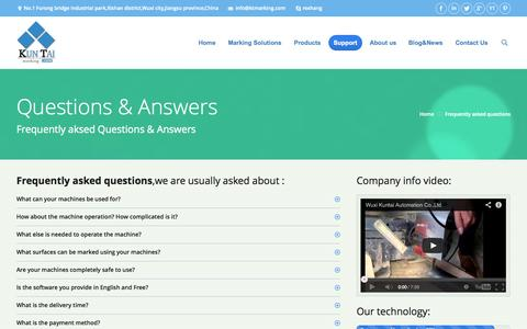 Screenshot of FAQ Page ktmarking.com - Frequently asked Questions & Answers - captured Sept. 19, 2014