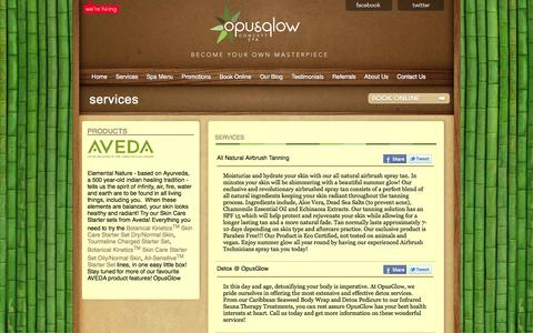 Screenshot of Services Page opusglow.com - Services | Opusglow Concept Spa - captured Oct. 7, 2014