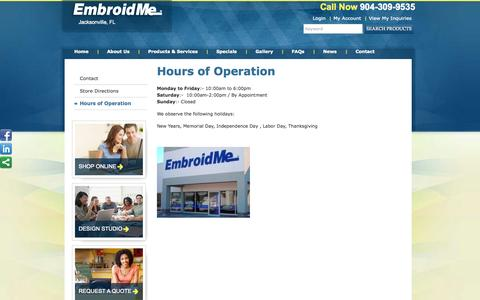 Screenshot of Hours Page embroidme-jaxcentral.com - Hours of Operation | EmbroidMe - captured Oct. 2, 2014